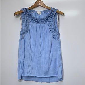 ANTHRO MEADOW RUE Light Blue String Crochet Blouse